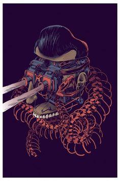 Smithe #skeleton #robot #anatomy #lazers #snake #illustration #squiff