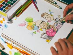 Happy B-day @Dribbble #dribbble #colours #drawn #pencils #hand #sketch