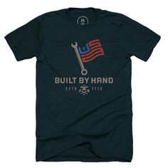 Built by hand by Mike Bruner #collar #t-shirt #usa #blue #work