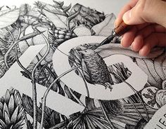 Agence Karine Garnier #monogram #initials #name #flowers #plants #ink #intricate #detail #drawing #lettering