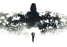 garden.jpg (JPEG Image, 700x495 pixels) #shadows #white #girl #black #illustration #nature #and #flowers