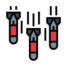 See more icon inspiration related to bomb, miscellaneous, torpedo, explosive, attack, military, explosion, weapons, weapon and missile on Flaticon.