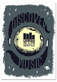 Familytree » Blog Archive » KEXP postcard #radio #retro #handmade #rocket #poster #moon