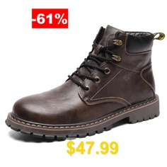 Men's #Plush #Keep #Warm #Martin #Boots #Lace-up #Solid #Color #British #Style #- #DEEP #BROWN