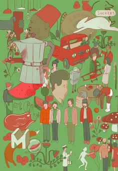 By Michael Constantine #illustration #poster #green