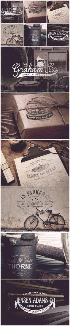 19th Century Vintage Logos - Logos - 4 #font #stamp #logos #premium #free #retro #insignia #vintage #kit #logo #pack #typography