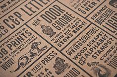 Design Work Life » Nathalie Cone for Gilah Press #black #letterpress #cardboard #typography