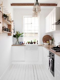 White kitchen. Swedish Summer House by Mr.Fräg. #white #kitchen #minimal