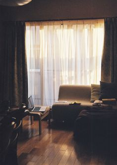 (by miyuklm) #sun #sofa #shade #couch #lazy #yellow #living #curtain #afternoon #brown #window #room