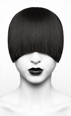 photography and hair #white #woman #lips #bob #black #hair #photography #portrait #and