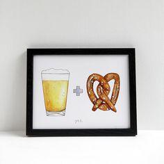 Beer & Pretzel - Print By Drywell #beer #ink #pretzel #print #illustration #poster #watercolour