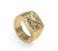 Ivy Noir / Gold Vermeil Signet Ring — SMITH/GREY Jewellery Design Studio #graphic #texture #gold #oars #ring #signet