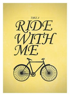 Bicycle quotes wall decor Ride with me RetroStyle by NeueGraphic #bicycle #print #yellow #neuegraphic #poster #art #typography