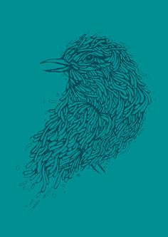 Tosca line art bird illustration Stretched Canvas #arts #birds #illustration #line