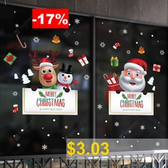 Santa #Claus #Elk #Snowman #Welcome #To #The #Mall #Store #Removable #Sticker #- #MULTI-A