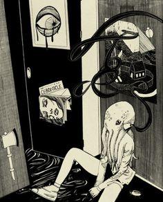 Birdie Houdini #illustration #surreal #octopus #birdie houdini