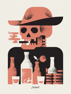 Salud_dribble #illustration #poster #skull