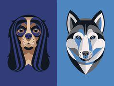 Cavalier & Husky by DKNG #icon #iconic #animal #illustration #dog #geometric #cavalier #husky