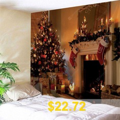 Christmas #Fireplace #Print #Wall #Decor #Tapestry #- #COLORMIX