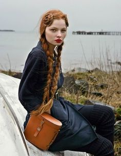 red hair, long braids #plait #red #woman #girl #photo #lips #hair #ginger