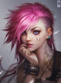 VI Fan Art Portrait Colored #punk #girl