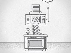 Dribbble - Branding Machine by Floris Voorveld #vector #line #machine #illustration #art