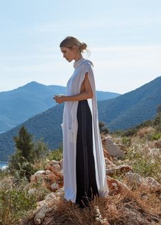 Fashion clothing woman mountains mountain white