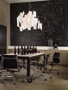 Cool Idea for office/workspace design #interior #lamp #black #chalkboard #brown #light #paper