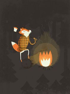 5617256922_c4cab3090a_z.jpg (477×640) #lumberjack #illustration #fire #fox