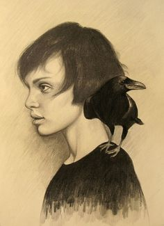 Dibujos #illustration #raven #graphite #girl