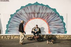 vincentperraud: Sam Jones - Santander #wall #mural #photo #bicycle