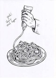 oral hygiene #hygiene #spaghetti #illustration #oral #bw