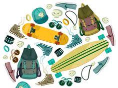 #pattern #skate #surf #backpack #pastel