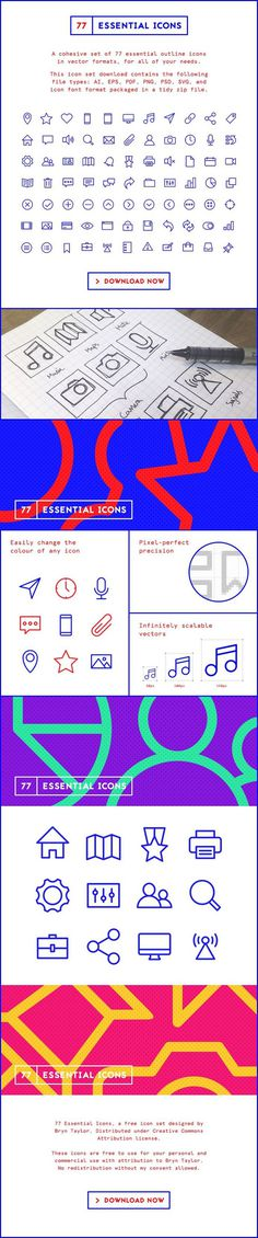 77 Essential Icons - FREE to download (.ZIP) - bit.ly/77-icons - A minimal outline icon set designed by @bryntaylor99 for personal and commercial use.