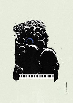 Blue Monkey #piano #negative #crowd #monkey #people #space #worship #illustration #poster #blue