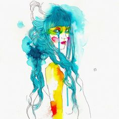 tumblr_lu3t3nLLeP1qz9v0to1_1280.jpg (JPEG Image, 600x600 pixels) #line #water #color #roset #conrad #women #illustration