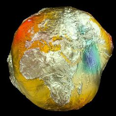 The Geoid 2011 model, based on data from LAGEOS, GRACE, GOCE and surface data. Credit: GFZ #earth #field #gravitational