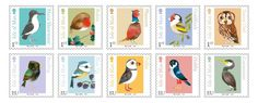 Isle of Man Birds stamps, by Matt Sewell