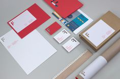 A collection of stationary and packaging using the Fieldwork brand #die #cut #red #business #card #head #letter #stationery #mailer