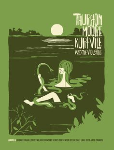 Furturtle Show Prints THURSTON MOORE with Kurt Vile 2011 Twilight Concert Series Poster #girl #illustration #poster #lake #snake #moore #ku