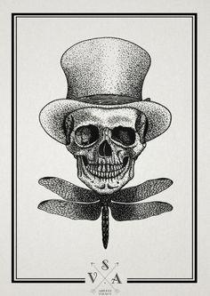 tumblr_mdj6dwACKK1r7lzpno1_1280 #dragonfly #skull #top #hat
