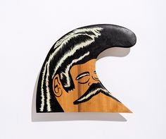 Gee 6 #sculpture #character #face #object #mustache #surfboard