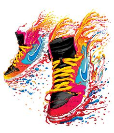 Nike t shirt design 2012 on the Behance Network #sneakers #vibrant #trainers #vector illustration