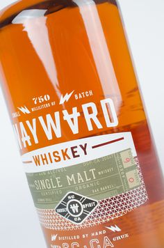 whiskey, wayward, orange, bottle, design, glass, spirits