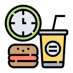 See more icon inspiration related to break, menu, food, sandwich, burger, lunch time, lunch break, time and date, food and restaurant, Soft drink, junk food, hamburger and fast food on Flaticon.