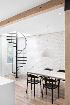 Espace Panet by Anne Sophie Goneau Design. #annesophiegoneaudesign #spiralstaircase #diningroom #brickwall #minimal