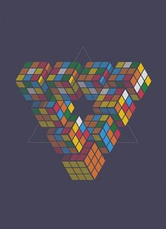 Impuzzable Triangle Art Print by John Tibbott | Society6 #rubiks #geometry #cube