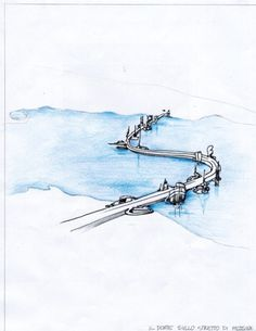 Support pillars with a sea view | Abitare En #bridge #illustration #river