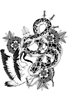Serpiente vs Grulla on Behance #bw #vector #crane #design #snake #illustration #animals #character