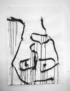 Jack Walsh #ink #white #falling #black #artwork #paint #jack #painting #and #man #face #walsh